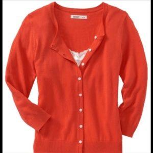 Orange Crew Neck 3/4 Sleeve Cardigan